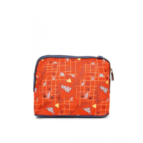 Global Desi Orange Polyurethane Printed Sling Bag
