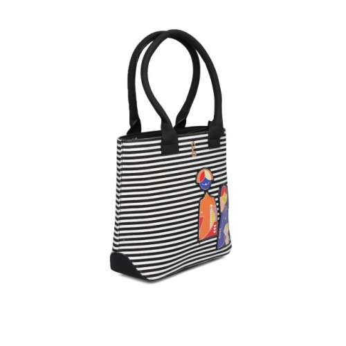 Global Desi Black & White Striped Handheld Bag
