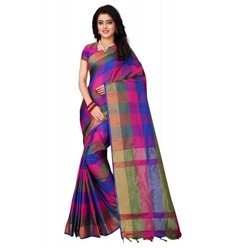 5380adbac4 ... OM SAI LATEST CREATION Blue Bhagalpuri Silk Printed Saree With Blouse  Piece ...
