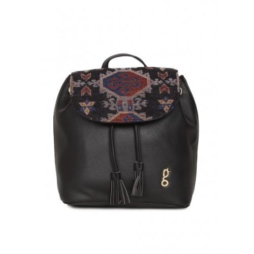 Global Desi Women Black Polyurethane Backpack