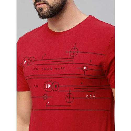 HRX by Hrithik Roshan Men Red Printed Round Neck Athleisure T-shirt