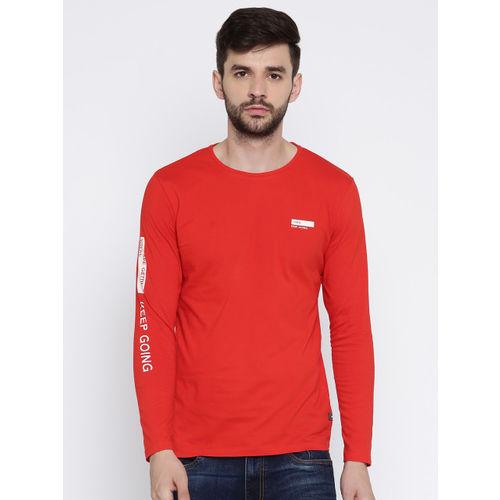 HRX by Hrithik Roshan Men Red Solid Round Neck T-Shirt