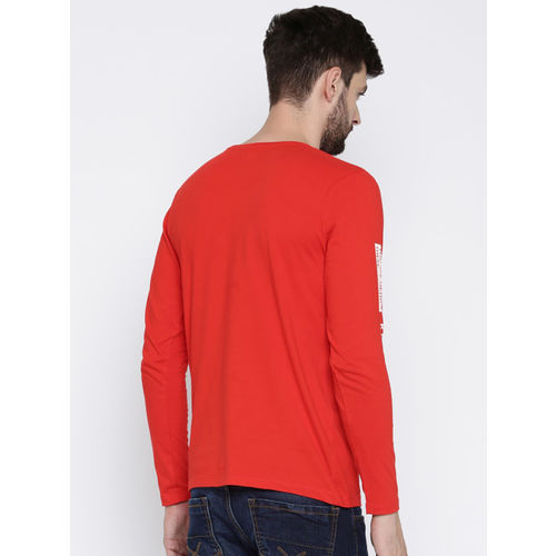 HRX by Hrithik Roshan Men Red Solid Round Neck T-Shirt