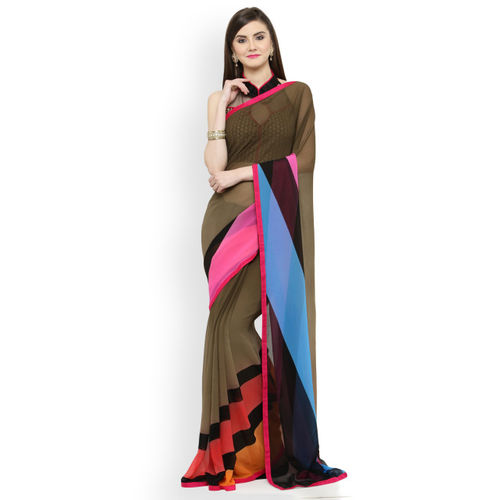 Shaily Brown & Blue Pure Georgette Printed Saree