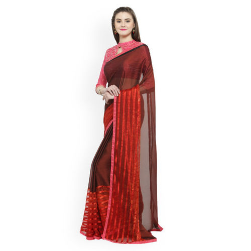 Shaily Maroon Printed Silk Blend Saree