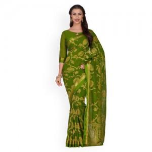 MIMOSA Green & Golden Woven Design Kanjeevaram Saree