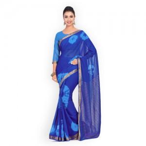 MIMOSA Blue Poly Chiffon Dyed Banarasi Saree