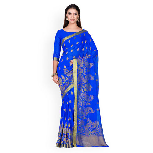 MIMOSA Blue & Golden Woven Design Kanjeevaram Saree