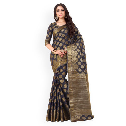 MIMOSA Navy Blue & Gold-Toned Art Silk Embellished Kanjeevaram Saree