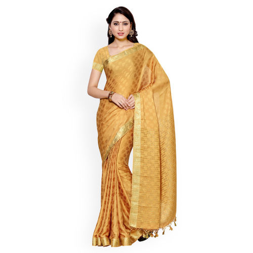 MIMOSA by Jupinda Beige Kanjeevaram Art Silk & Crepe Traditional Saree