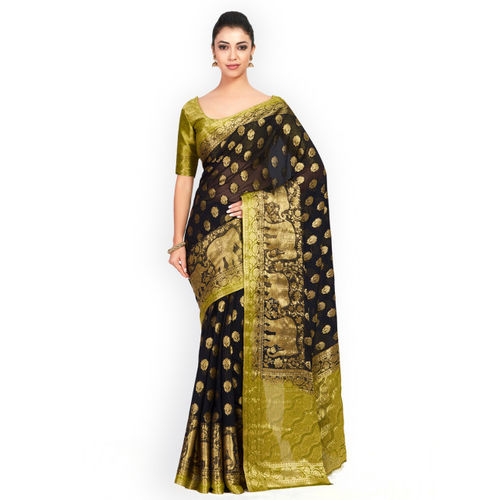 MIMOSA Black Poly Chiffon Woven Design Kanjeevaram Saree
