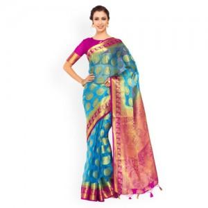 MIMOSA Turquoise Blue & Pink Organza Woven Design Kanjeevaram Saree