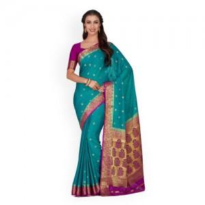MIMOSA Teal Green Poly Crepe Woven Design Kanjeevaram Saree