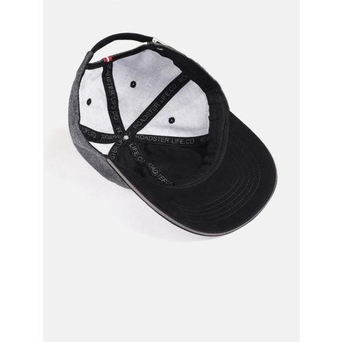 Roadster Unisex Grey & Black Solid Baseball Cap