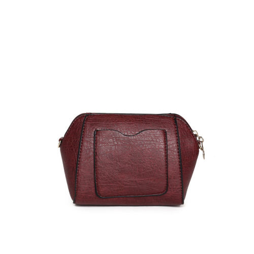 E2O Maroon Solid Sling Bag with Embellished Detail