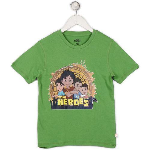 SHIVA Boys Printed Cotton T Shirt(Green, Pack of 1)