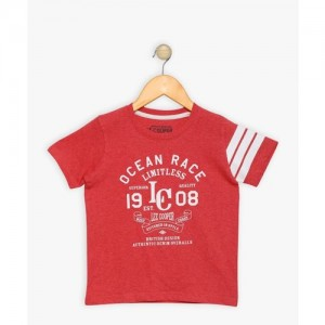 Lee Cooper Red Printed Cotton T Shirt