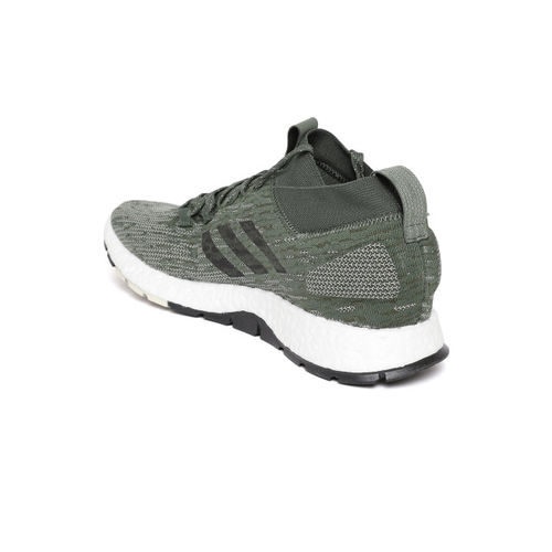 5568b2570 ... Adidas Men Olive Green   Off-White Pureboost RBL Woven Design Running  Shoes ...