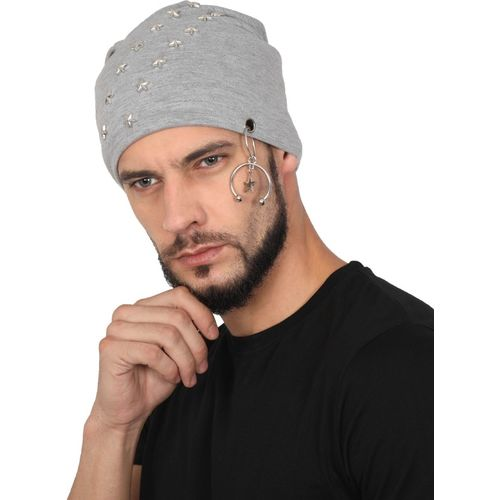 b045c9111a1 Buy FabSeasons Solid Cotton Beanie with stud accessories and Faux fur lining  on the inner for winters Cap online