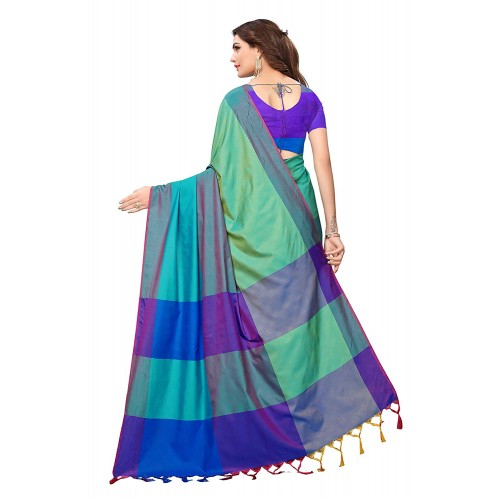 Indira Designer Blue Silk Saree Solid with Blouse Piece