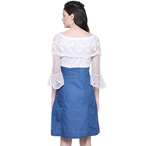 Fashion Dark Blue Denim Off Shoulder Dress