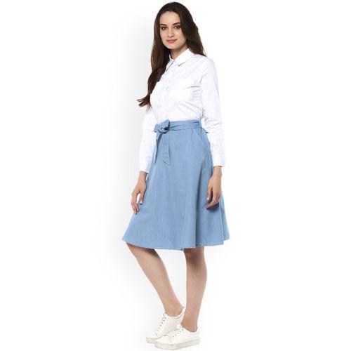 StyleStone Women White & Blue Colourblocked Denim Fit & Flare Dress