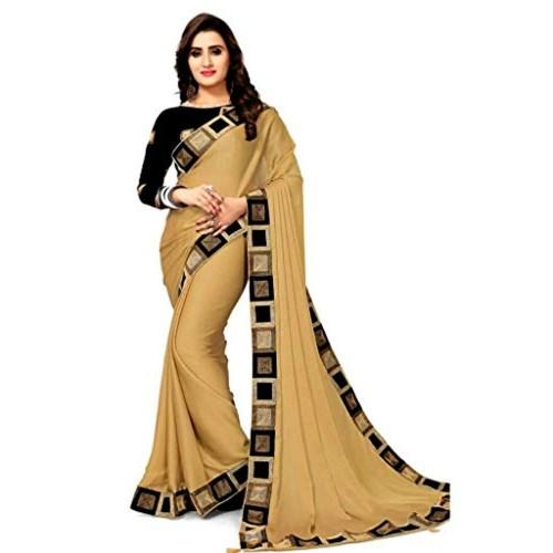 Pramukh Fashion Multicolour Georgette Solid Saree