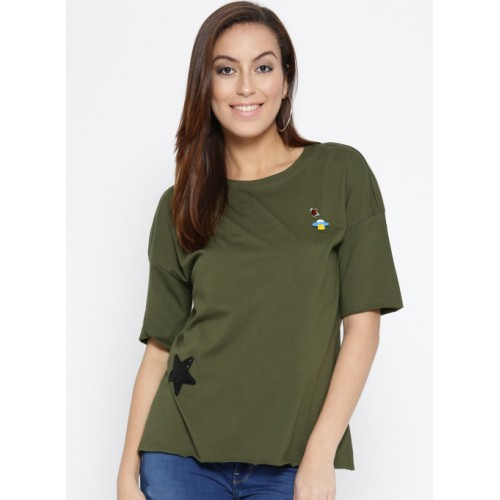 ff1cbed0cc8 ... ONLY Olive Green Printed Round Neck T-shirt with Embellished Detail ...