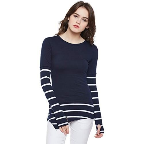 Hypernation Blue & White Cotton Thumb Insert Asymmetrical T-Shirt