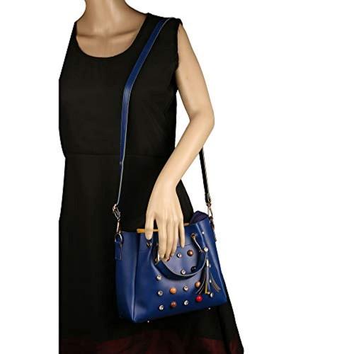 Roseberries Blue Polyurethane Sling Bag