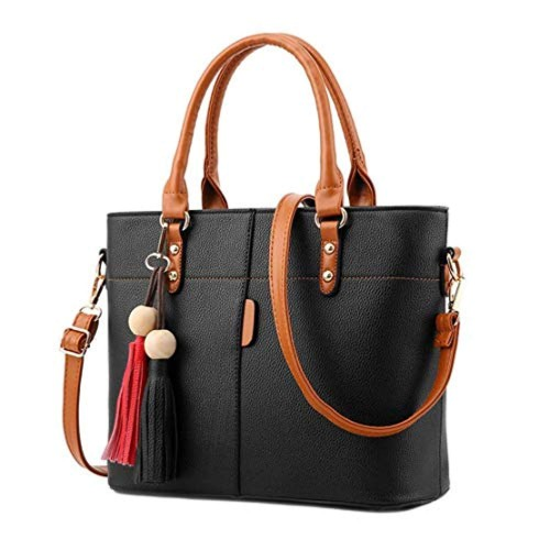 Shevanna Black Polyurethane Leather Solid Handbags