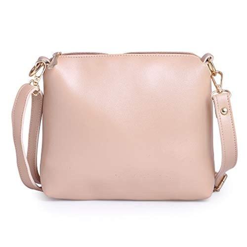 Generic Peach Polyurethane Classic Hand Bag