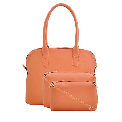 LaFille Peach Faux Leather Stylish Hand-held Bag