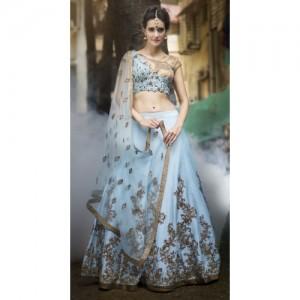Goyani International Sky Blue Sequins Embroidered Wedding Wear Lehenga Choli