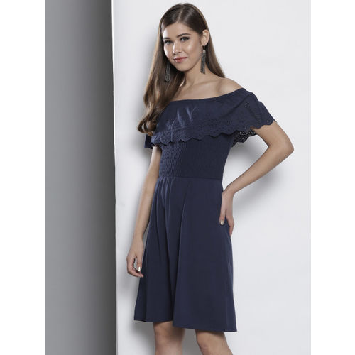DOROTHY PERKINS Women Navy Blue Solid Bardot Fit and Flare Dress