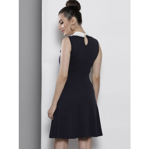 DOROTHY PERKINS Women Navy Blue Solid A-Line Dress