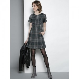 DOROTHY PERKINS Women Green & Black Checked A-Line Dress