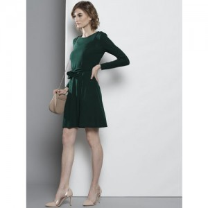 DOROTHY PERKINS Women Green Solid A-Line Dress