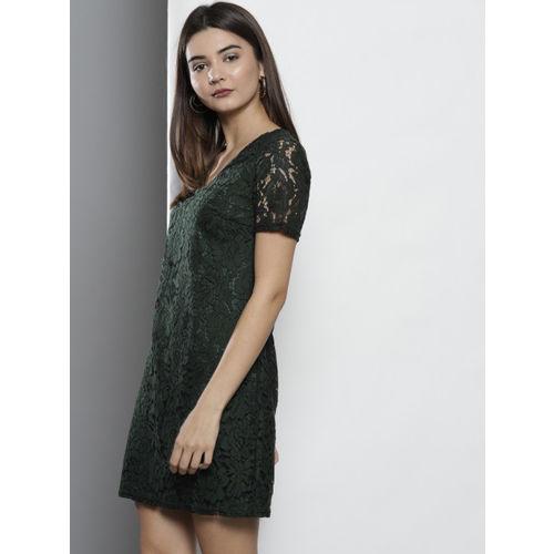 DOROTHY PERKINS Women Green & Black Lace A-Line Dress