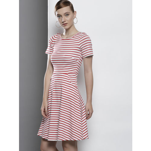DOROTHY PERKINS Women Red Striped Fit and Flare Dress