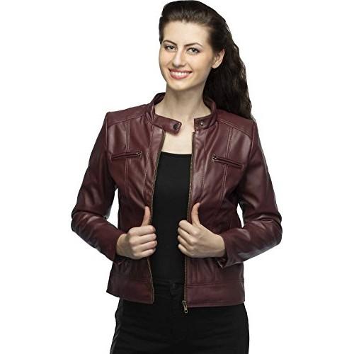 Life Trading Fashionable Maroon Faux Leather Jacket