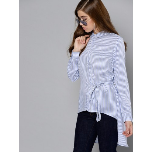 Marie Claire White & Blue Regular Fit Striped Casual Longline Shirt
