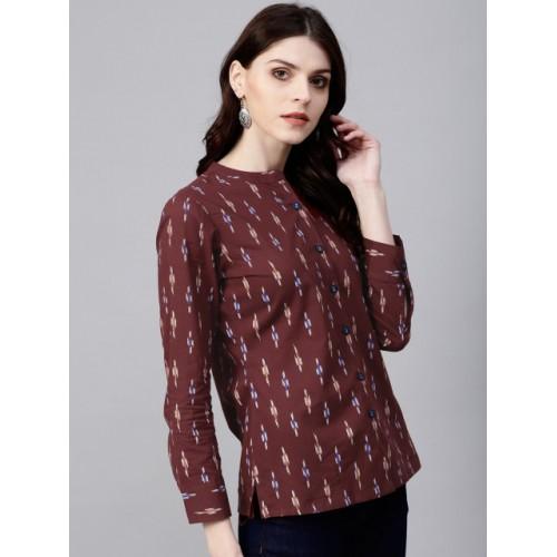 AKS Women Maroon Regular Fit Ikat Print Casual Shirt