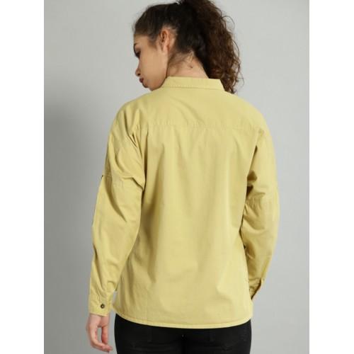 Roadster Khaki Cotton Regular Fit Solid Casual Shirt