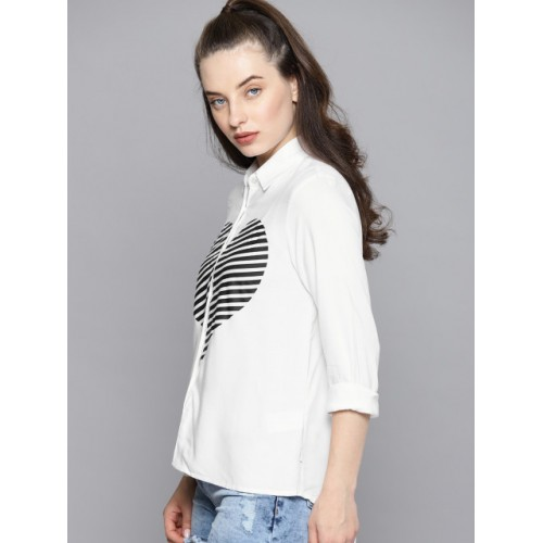 Kook N Keech White & Black Cotton Regular Fit Printed Casual Shirt