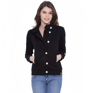 Campus Sutra Black Cotton Side Button Front Jacket