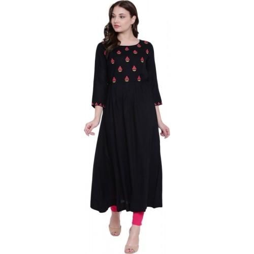 Gulmohar Jaipur Black Embroidered Anarkali Kurta
