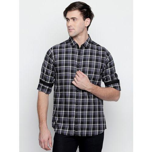 Dennis Lingo Men Checkered Casual Black Shirt