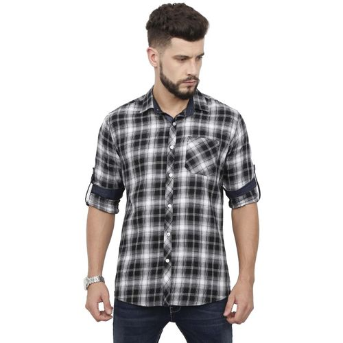Rope Men's Checkered Casual Black, White Shirt
