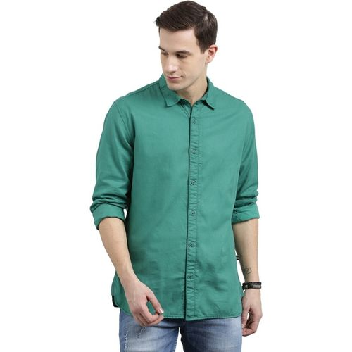 Breakbounce Men's Solid Casual Green Shirt
